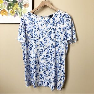 Ann Taylor Blue Floral Print Blouse Size L